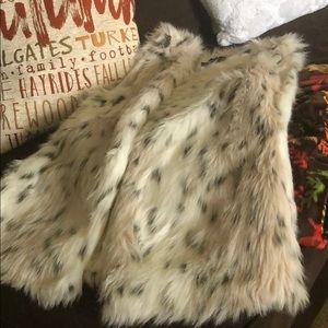 White Leopard Faux Fur Vest